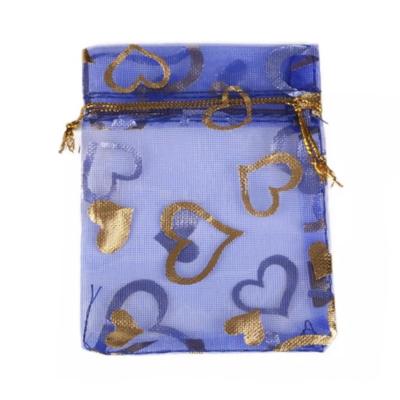 Cadeau Verpakking Organza Donkerblauw met Goudkleurige Hartjes kopen