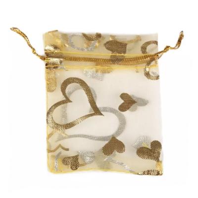 Cadeau Verpakking Organza Geel met Goudkleurige Hartjes kopen