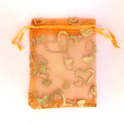 Cadeau Verpakking Organza Oranje met Goudkleurige Hartjes kopen
