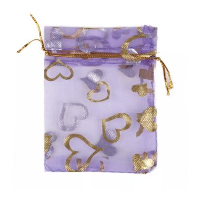 Cadeau Verpakking Organza Paars met Goudkleurige Hartjes kopen