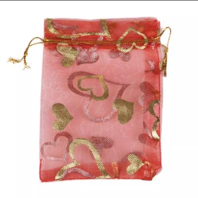 Cadeau Verpakking Organza Rood met Goudkleurige Hartjes kopen
