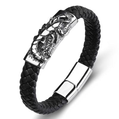 Armband Staal met Gevlochten Band Scorpion 20cm kopen
