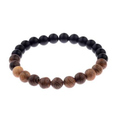 Kralen Armband Natural Stone Black/Brown 17-19cm kopen