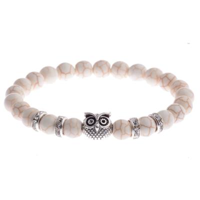 Kralen Armband Natural Stone White Owl 20cm kopen
