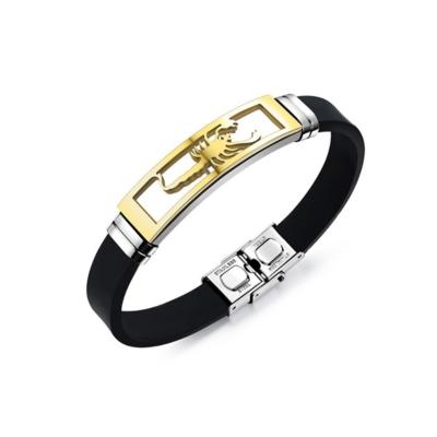 Armband Siliconen Band met Goudkleurige Scorpion RVS 20cm kopen