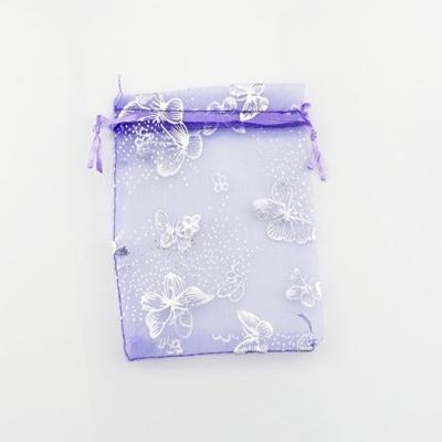 Cadeau Verpakking Organza Paars met Zilverkleurige Vlinders kopen