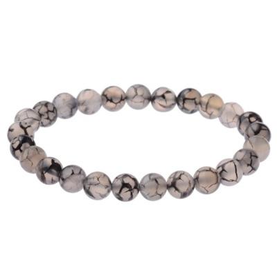 Kralen Armband Natural Stone Black/Grey 18-21cm kopen