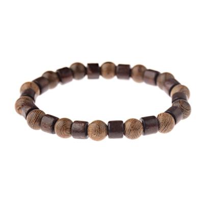 Kralen Armband Natural Stone Brown Rond/Cilinder 17-19cm kopen