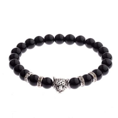 Kralen Armband Natural Stone Black/Zilverkleurig Leopard 20-25cm kopen