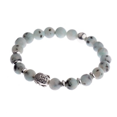 Kralen Armband Natural Stone Grey/Lightgreen Buddha 20-25cm kopen