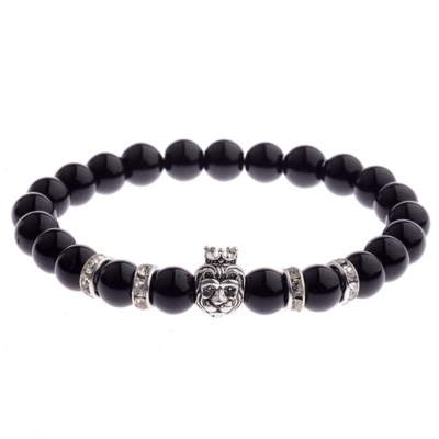 Kralen Armband Natural Stone Zwart/Zilverkleurig King Lion 20-25cm kopen