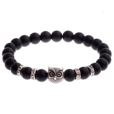 Kralen Armband Natural Stone Zwart/Zilverkleurig Owl 20-25cm kopen