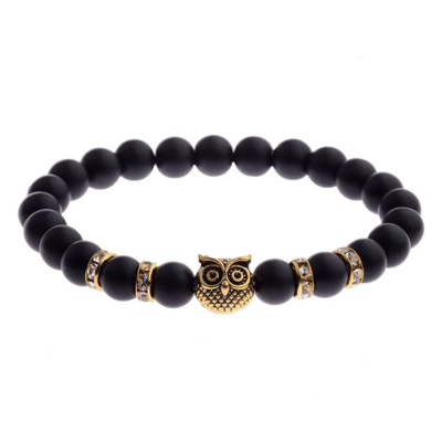 Kralen Armband Natural Stone Zwart Owl 20-25cm kopen