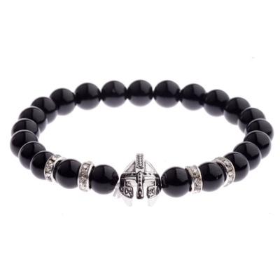 Kralen Armband Natural Stone Zwart/Zilverkleurig Helmet 20-25cm kopen