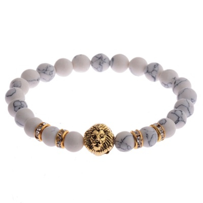 Kralen Armband Natural Stone White/Grey Lion 20-25cm kopen
