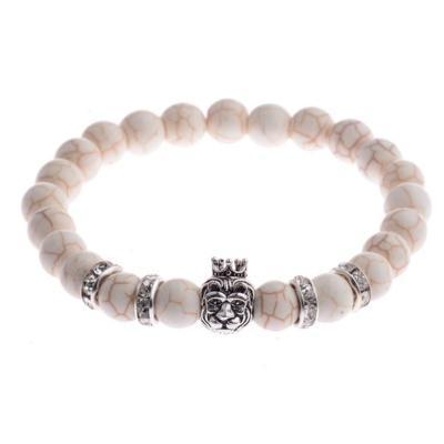 Kralen Armband Natural Stone Beige/Zilverkleurig King Lion 20-25cm kopen