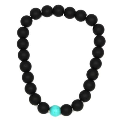 Kralen Armband Natural Stone Black/Turquoise 17-19cm kopen