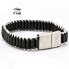 Fiell Genuine Lederen Heren Schakelarmband Black 22cm
