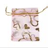 Cadeau Verpakking Organza Lichtroze met Goudkleurige Hartjes
