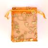 Cadeau Verpakking Organza Oranje met Goudkleurige Hartjes
