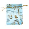 Cadeau Verpakking Organza Turquoise met Goudkleurige Hartjes