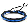 Heren Gevlochten Armband Black/Blue 17-21cm