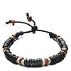 Houten Kralen Armband Dark Brown/White 15-20cm