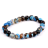 Heren Kralen Armband Natural Stone Blue/Brown 17-19cm