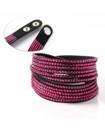 Kristal Wrap Armband Zwart Roze -