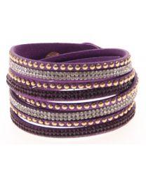 Kristal Wrap Armband Paars -