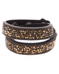 Kristal Wrap Armband Zwart Goud -