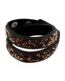 Kristal Wrap Armband Zwart Rood Goud -
