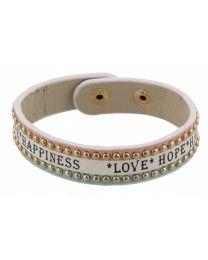 Armband Love Hope Happiness Blauw/ Roze -