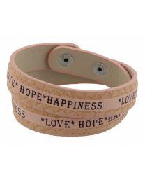 Armband Love Hope Happiness Roze -