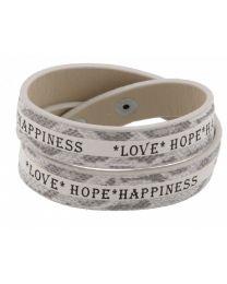 Armband Love Hope Happiness Wit -