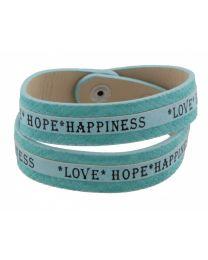 Armband Love Hope Happiness Blauw  -