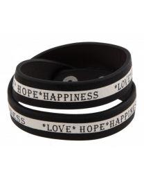 Armband Love Hope Happiness Zwart/ Wit  -