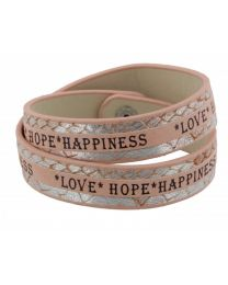 Armband Love Hope Happiness Roze/ Zilver  -