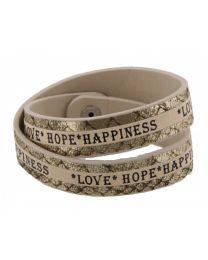 Armband Love Hope Happiness Beige/ Goud -