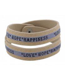 Armband Love Hope Happiness Beige/ Blauw -