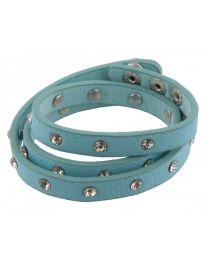 Wikkel Armband Diamant Studs Blauw -