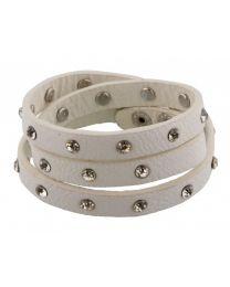 Wikkel Armband Diamant Studs Wit -