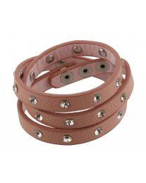 Wikkel Armband Diamant Studs Roze -