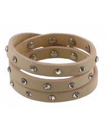 Wikkel Armband Diamant Studs Beige -