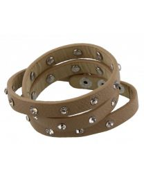 Wikkel Armband Diamant Studs Bruin -