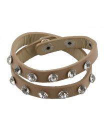 Wikkel Armband Grove Diamant Studs Beige -