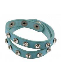 Wikkel Armband Grove Diamant Studs Blauw -