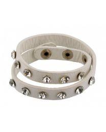Wikkel Armband Grove Diamant Studs Wit -