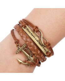Lederen armbandje 'Where there's a will...' -