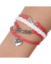 Lederen armbandje Love Sister -